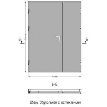 Дверь противопожарная двупольная EI-60 без стекла